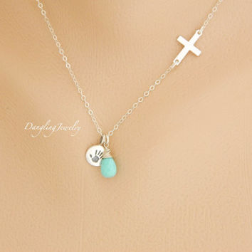 New Mom Necklace, Sideway Cross Necklace, Birthstone Necklace, Handprint Necklace, New Baby Necklace, New Born necklace, Religious Jewelry,