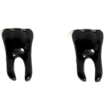 Molar Tooth Stud Earrings Black EA19 Tribal Cannibal Dental Grill Posts Fashion Jewelry