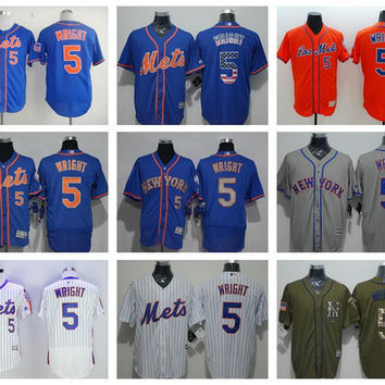New Baseball 5 David Wright Jersey Throwback New York Mets Jerseys Flexbase Pullover Cool Base Pinstripe White Retro Blue Black Grey