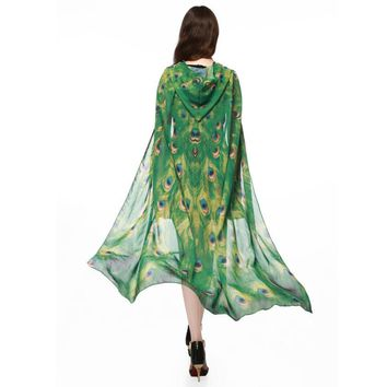Green Mesh Peacock Hooded Cape Robe Cosplay Dance Costume Rave Wear Halloween