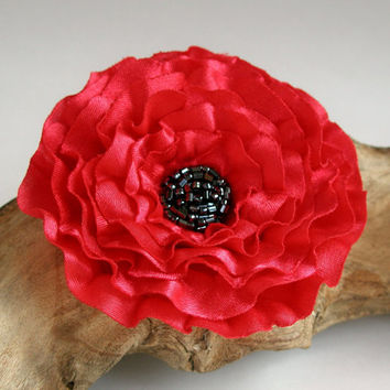 Red Flower Pin Or Hair Clip With Beads In The Centre