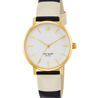 Goldtone Striped Strap Watch
