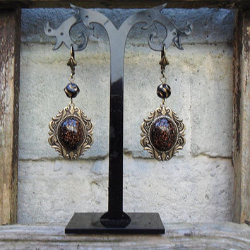 Opulent Neoclassical / Baroque style earrings, vintage German glass cabs, gemstone look, black and gold, Czech glass beads, oxidized brass