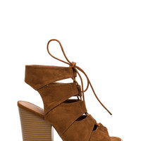 Get Laced Faux Suede Heels