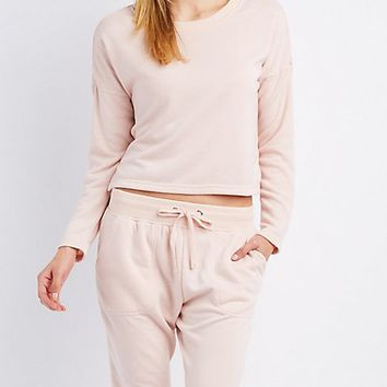 Crew Neck Cropped Sweatshirt