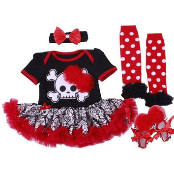 Baby Girls Halloween Costume Pumpkin Romper Dress 4pcs/set Newborn Bebe Baby Girl Dress Outfits Cosplay Party Clothes 0-24months