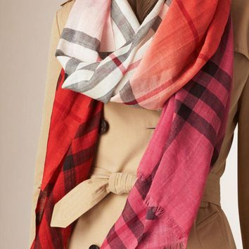 One-nice™ #4 BURBERRY CORAL OMBRE CHECK WOOL & SILK EXTRA LONG SCARF 100% AUTHENTIC