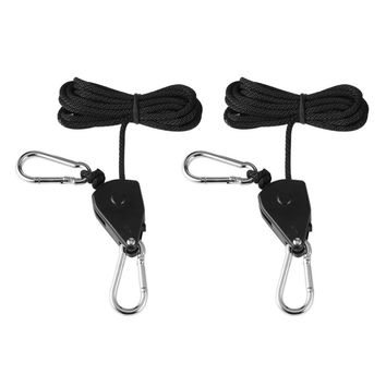 Pack of 2 Grow Light Easy Hangers - Adjustable Ratchet Hanging Cord for Grow Tent or Room