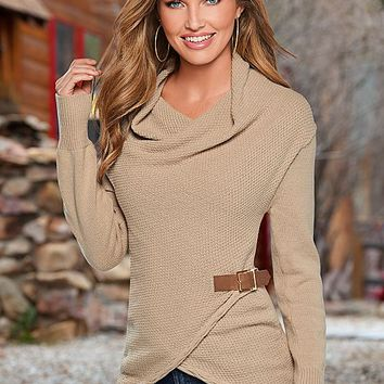 Side buckle detail sweater