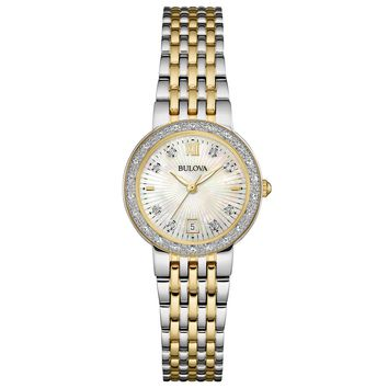 Bulova 98R211 Women's Maiden Lane Diamond Accented Bezel MOP Dial Two Tone Steel Watch