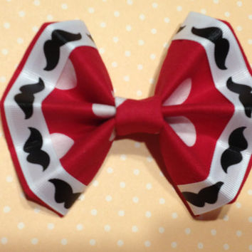 Girl's Red Fabric with White Polka Dot Hair Bow with Mustache Ribbon