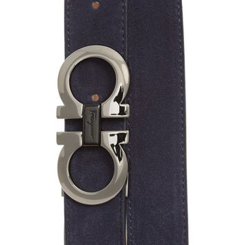 Salvatore Ferragamo Adjustable Gancino Blue Grandprix Suede Men's Belt Size 40