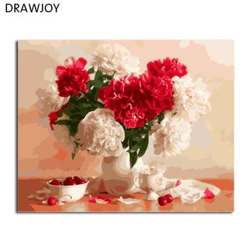 DRAWJOY Flower Framed Picture DIY Painting By Numbers Painting & Calligraphy Home Decoration For Living Room Wall Art
