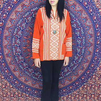 Vintage 70s Orange & White Embroidered Cotton Gauze Mexican Shirt Bohemian Tunic M // L