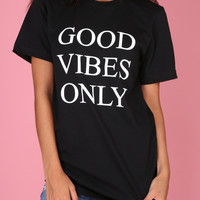 Good Vibes Only Black Graphic Unisex Tee