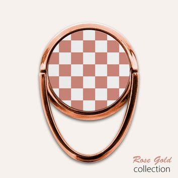 Rose Gold Checkerboard Phone Ring Finger Holder Mount Stand Grips