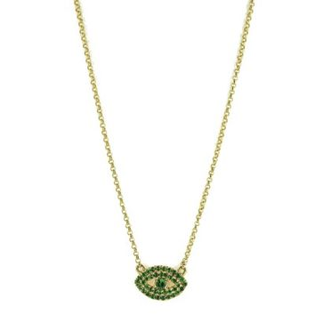 Bettina Javaheri Green Garnet Evil Eye Necklace - MoondanceJewelry.com b74e1d6268