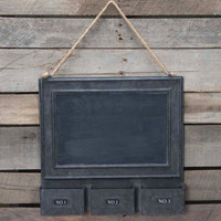 Vintage Metal Magnet Chalk Board with 3 Storage Bin Pockets
