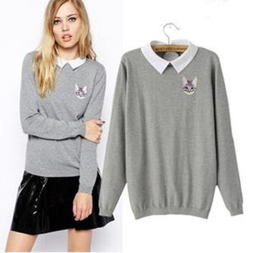 New fashion cute slim embroidery cat long sleeve M L lapel gray woman's Casual pullover knitwear Sweaters y140035