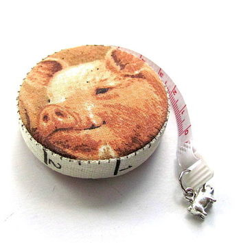 Tape Measure with Smiling Pigs by AllAboutTheButtons on Zibbet