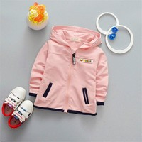 2017 spring new children cardigan zipper hooded Coat long sleeve solid worsted baby cloth for girl and boy 4 months-24 months