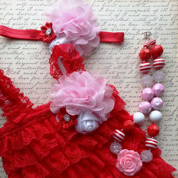 Lace Romper Set, Valentine's Romper, Romper Headband Necklace Set, Petti Lace Romper Set, Photo Prop, Newborn Outfit Birthday Outfit