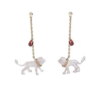 Gold Plated Captive Lion Earrings