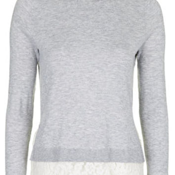 Hybrid Shirt Jumper - Grey Marl