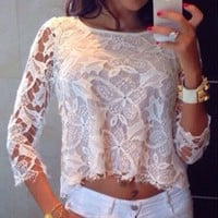 White Floral Lace Top