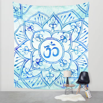 Om Mandala Watercolor Blue and Aqua Wall Tapestry by PatriciaRoberta