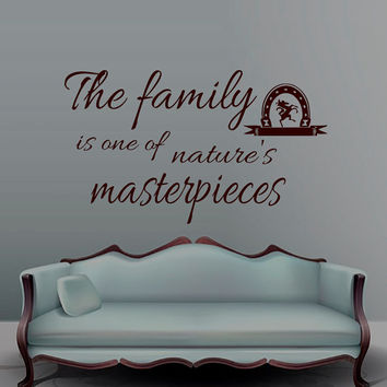 Wall Decals Family Quote Decal Vinyl Sticker Horseshoe Home Decor Bedroom Dorm Living Room MN 112