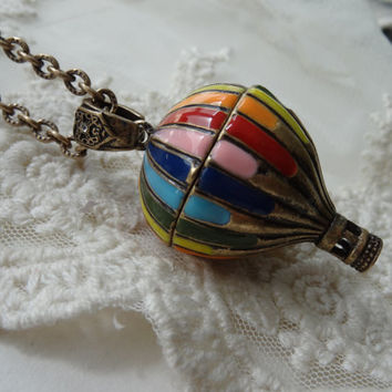 Retro Hand Painted Hot Air Balloon Magnetic Locket Necklace