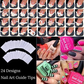 CREYEB2 24 sheets/lot French Manicure DIY Nail Art Tips Guides Stickers Stencil Strip Beauty Nail Tools Decoration