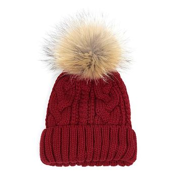 1pcs efero Fur Pom Poms Knitted Hat Ball Beanies Winter Hat For Women Girl's Wool Hats Skullies Beanies Thick Warm Female Cap