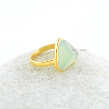 Chalcedony Ring-Green Chalcedony 9x13mm Trillion Pyramid Sterling Silver with 18k Gold Plated Ring-925 Sterling Silver Ring-Gift For Women
