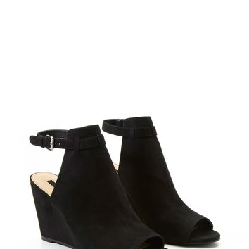 Faux Suede Ankle-Strap Wedges