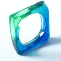 Square cut resin bangle bracelet jewelry , monaco blue and emerald womans bangle , resin jewellery australia