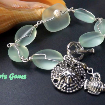 Sea Foam Sea Glass Bracelet Wire Wrapped Chunky Jewelry with charms, handmade by Lyrisgems