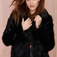 Glamorous Furred Lines Faux Fur Jacket - Black