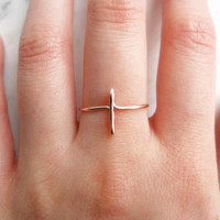Rose Gold Cross Ring//sideways cross ring, rose gold sideways cross ring, side cross, wire ring, adjustable ring,Dainty ring,Minimalist,Gift