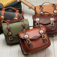 Vintage Look Leather Canvas DSLR Messenger Camera Bag