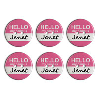 Janet Hello My Name Is Plastic Resin Button Set of 6