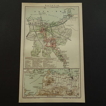 "JAKARTA old map 1904 original antique city plan of Jakarta Indonesia - detailed vintage maps Batavia - 16x25c 6x10"" poster alte karte von"