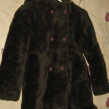 60s little girls princess  style  brown fuzzy faux fur hooded double breasted coat
