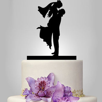 silhouette Cake topper, Vintage cake topper, Personalized Wedding Cake, just married cake topper