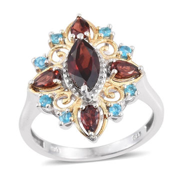 Cluster Stunning Garnet and Apatite Ring