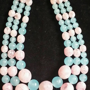 Signed CORO 1950s Pink & Blue Triple Strand Lucite Chocker Necklace Mid Century Multi Strand Designer Signed Jewelry Perfect For Spring