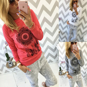 Long Sleeve Women's Fashion Stylish Autumn Hot Sale Pattern Print Tops [9087821764]