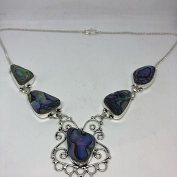 Vintage Green Abalone silver Necklace choker