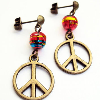 Peace Sign Earings Dangle Studs Red Bead Earings Hippie Jewelry